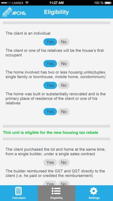 New housing tax and rebate calculator - APCHQ screenshot three