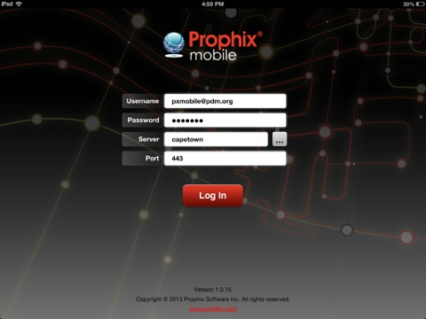 Screenshot of Prophix Mobile