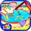 Messy Pool Wash - Cleanup & repair the pool in this salon game for kids insane pool