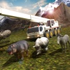 Wild forest animals transport truck driver 3D