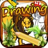 Drawing Desk Wild Animal : Draw and Paint Coloring Book For Kids