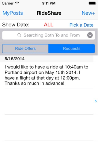 Bowdoin College RideShare screenshot 2