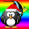 Paint Penguin and Fish Coloring Page for Funny Kids