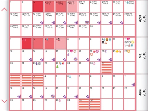 WomanLog-Pro-Kalender Screenshots