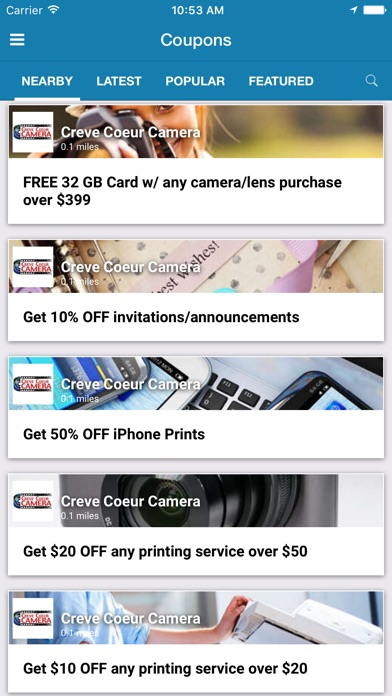 Creve Coeur Camera Coupons on the App Store