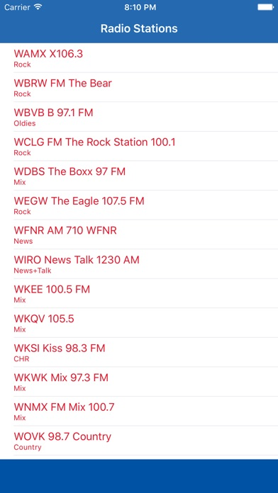 Radio Channel West Virginia FM Online Streaming Screenshot on iOS