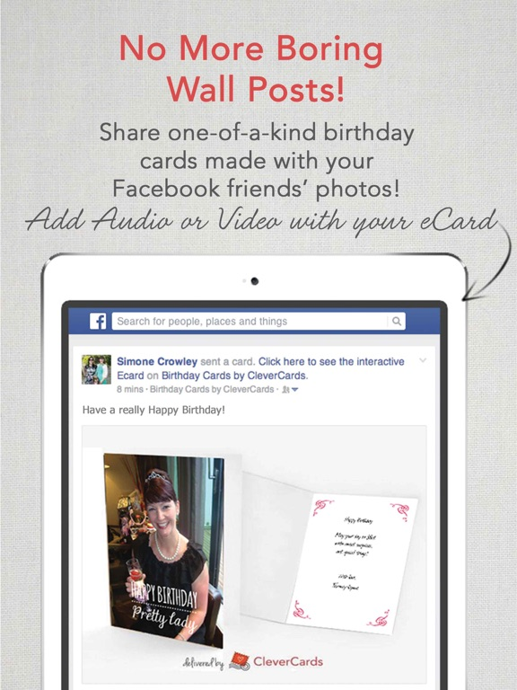 Clevercards greeting cards ecards for facebook on the app store ipad screenshot 3 bookmarktalkfo Image collections