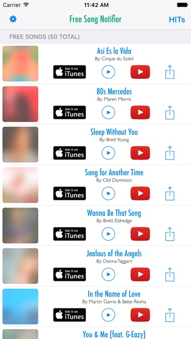 Screenshot #3 for Free Song Notifier for iTunes Downloads & Top Hits