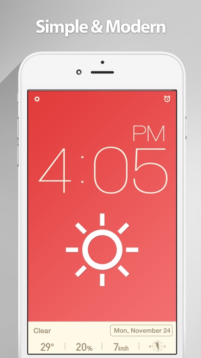 Red Clock - The Minimal Alarm Clock Скриншоты3
