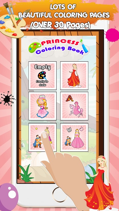 A coloring book of princess for children and preschool for Learning to paint and draw
