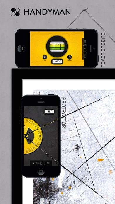 Handyman Tools 5 in1 - handy construction master toolset (bubble level bar, surface level, protractor, plumb bob & ruler) Screenshot 2