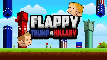 Screenshot of Flappy Donald Trump vs. Hillary Election Run – Face Off Flyer President5