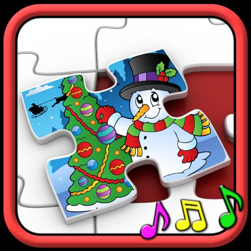 孩子们圣诞拼图形状-教育游戏对于学龄前儿童 3 +
