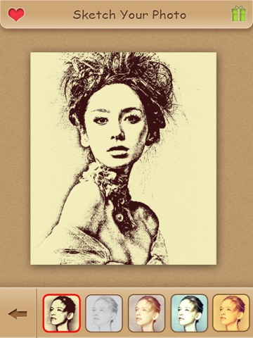 Screenshots of Sketch Guru HD - Portrait Photo Editor to add pencil & cartoon effects, texts, stickers on pic for iPad