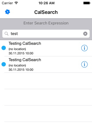 CalSearch screenshot 1