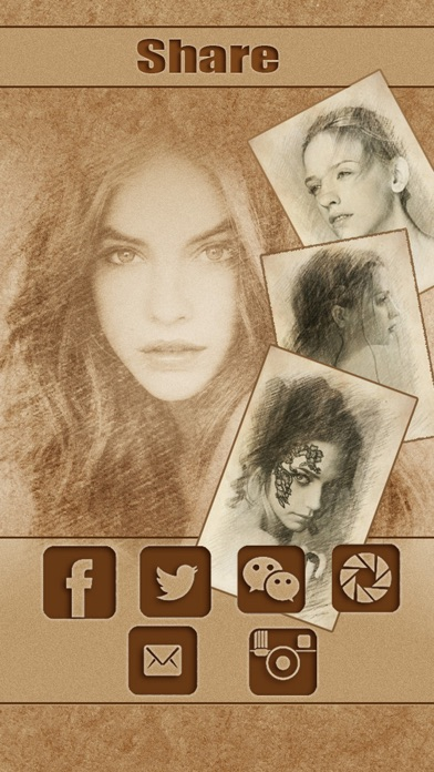 Screenshots of Sketch Guru HD - Portrait Photo Editor to add pencil & cartoon effects, texts, stickers on pic for iPhone