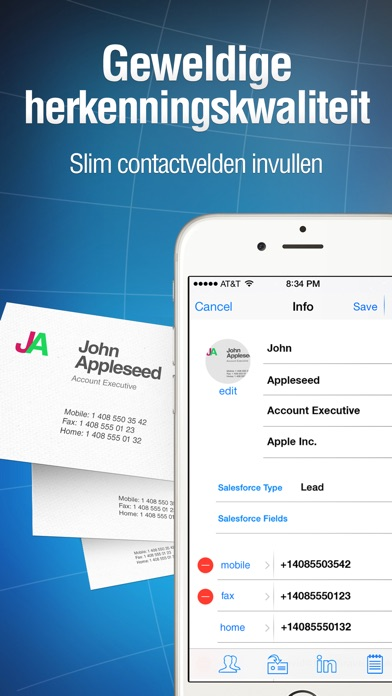 Business card reader iphone app appwereld for Business card scanner app for iphone