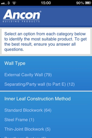Ancon UK Wall Tie Product Selector screenshot 2