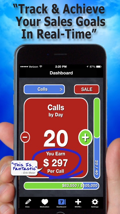 Easy Sales Goal Tracking—Fast Accurate Tracker by Calls On Fire LLC
