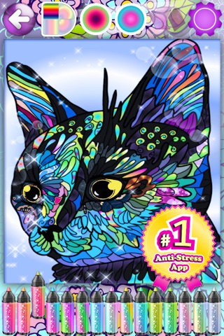 Adult Coloring Books Anti Stress Cats Pages Games! screenshot 2