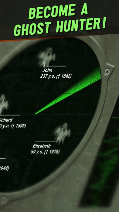 screenshot of the app, showing two ghosts - john aged 237 and Elizabeth ages 89 in the area.