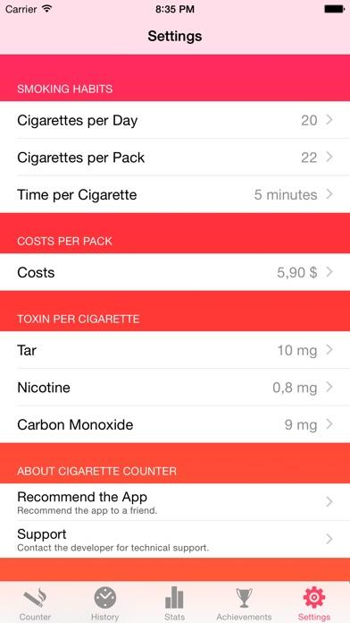 Screenshot for Cigarette Counter - How much do you smoke? in Czech Republic App Store