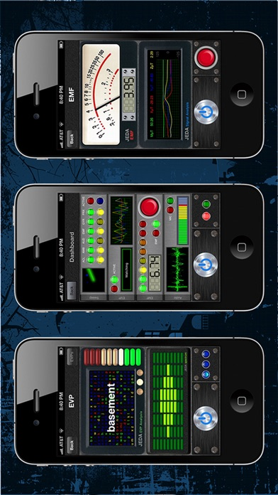 screenshot of the various dials and measuring screens that the app displays.