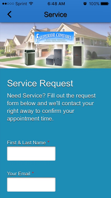 Superior Comfort Inc by Mobile App Designz – Superior Service Application Form