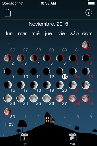 Sky and Moon phases calendar screenshot 4