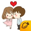 The Love story of Cute Couple - Mango Sticker sticker translator
