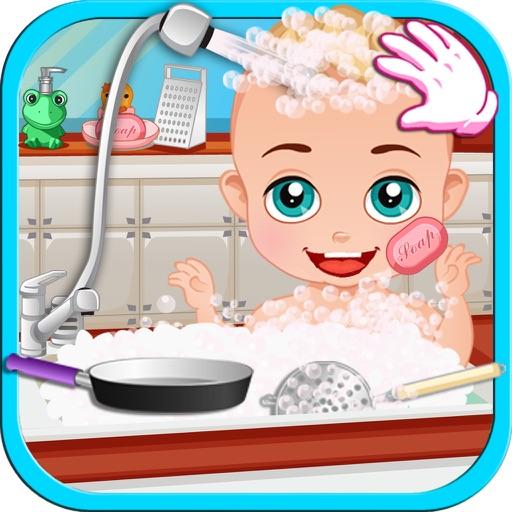Newborn Baby Boy In The Kitchen iOS App